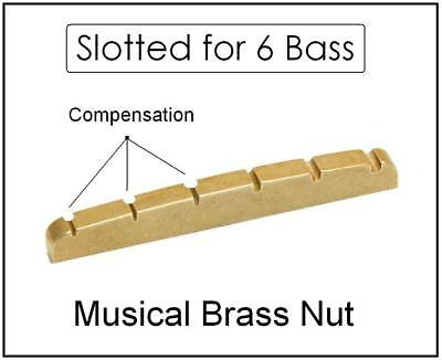 AxeMasters  COMPENSATED BRASS NUT made for Fender Squier VI 6 String Bass Guitar
