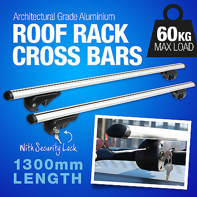Universal Alloy Aero 130Cm Locking Anti Theft Roof Bars For Cars With Rails/rack