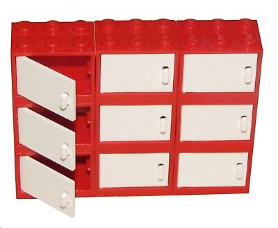 ☀️New Lego Lot Of 9 Red Cupboard Container Drawers W/ White Doors Kitchen House