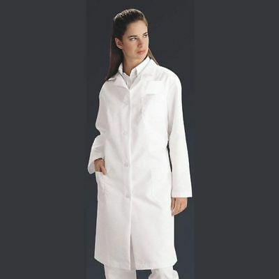 Womens Lab Coat Knee Lgth White Button Front w/ Pockets