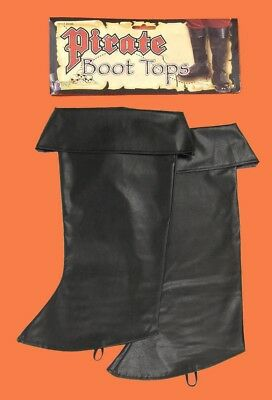 Black BOOT TOPS Covers Captain PIRATE Renaissance Colonial Costume