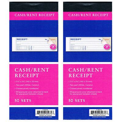 2 Cash Rent CARBONLESS Receipt Book 2 Part 50 Set Money Record Booklet Duplicate