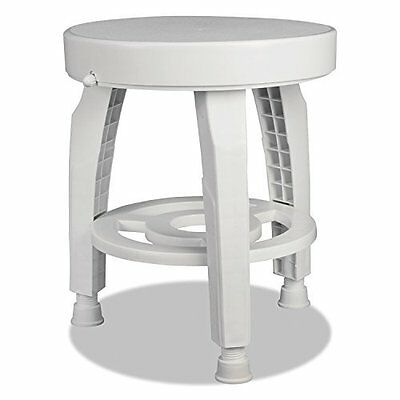 Rotating Bath Shower Stool Chair Germ-Free Protection Storage Shelf White Seat