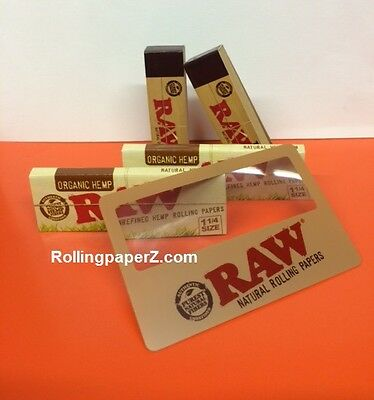 2 Packs of Raw 1 1/4 ORGANIC Rolling Papers + 100 Tips + Magnifier Scooping Card