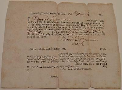 1760 French & Indian War Partially Printed Soldier Enlistment Document Ed Hammon