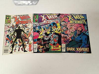 X-MEN and the MICRONAUTS lot of 3 issues #1, 2,& 4 (of 4 )Marvel Comics 1984 FN+
