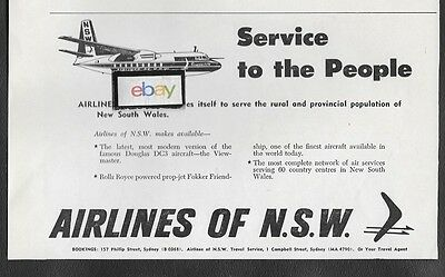 Airlines Of N.s.w. New South Wales 1961 Fokker Friendship F-27 & Dc-3 Ansett Ad