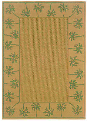 """2'x8' Sphinx Bordered Beige Palm Tropical 606G6 Runner - Aprx 2' 3"""" x 7' 6"""""""