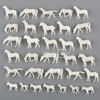 50pcs N Scale UnPainted White Farm Animals Horses 1:150 Model Layout