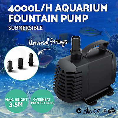 4000LPH Submersible Aqua Aquarium Fountain Pond Marine Water Pump Fish Tank