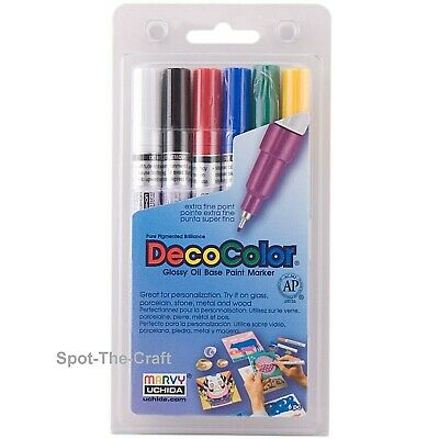 DecoColor Oil-Based Paint Markers ~ Primary Colors ~ Extra Fine Tip ~ 6 In Set