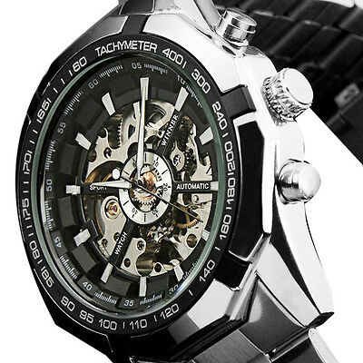 Mens Classic Automatic Mechanical Steampunk Stainless Steel Military Wrist Watch
