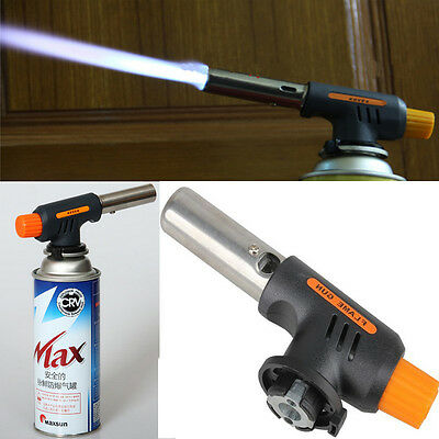 Auto Ignition Flamethrower Burner Butane Gas Torch Camping Welding Picnic BBQ