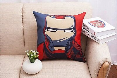 Cartoon Cushion Cover Cotton Linen Iron Man Hold Pillow Case sofa pillowslip