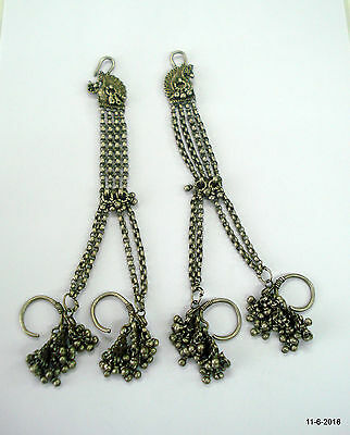 vintage antique collectible tribal old silver earrings with hair chain jewellery