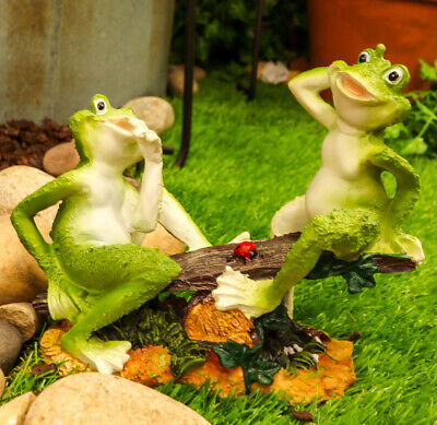Summer Fun Cottage Garden Whimsical Frogs Sitting On Seesaw With Ladybug Statue