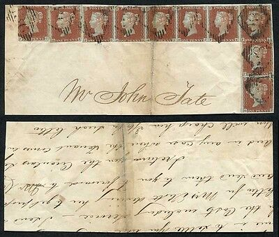 1841 Penny Reds TEN EXAMPLES from plate 49 on Piece from Dublin