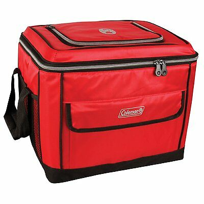 Coleman 40 Can Collapsible Cooler Red Outdoor Camping Hiking Durable Cooling Bag
