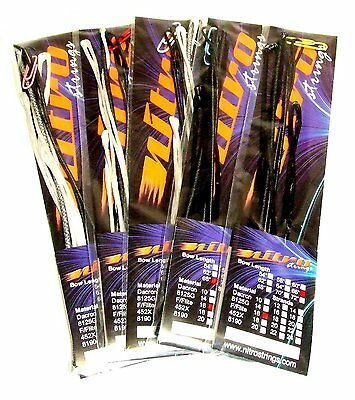 "Nitro Archery Recurve Bow String Fastflite Black or White 62 - 70"" Pre Stretched"