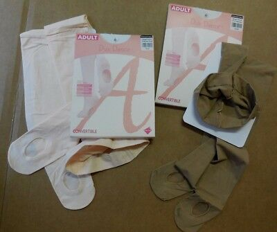 New/Pkg Dux CH/Ladies Ballet Pink, Light Suntan, Coffee Convertible Dance Tights