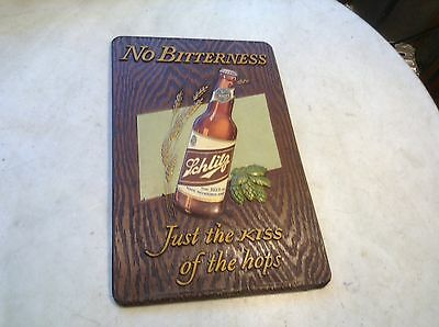 "Vintage 1940's-1950's Schlitz Beer Sign ""No Bitterness Just a Kiss of the Hops"""