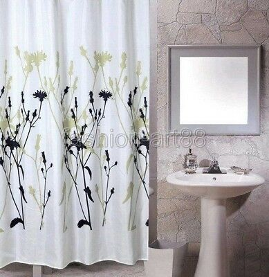 Curtains Ideas black shower curtain with white flower : Sardinia Green Blue Floral Flower Fabric Cloth Bathroom Shower ...