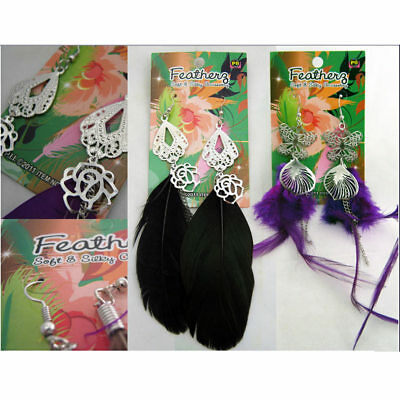 2 Pairs Feather Earrings Accessories Jewelry Drop Dangle Style Handmade Fashion