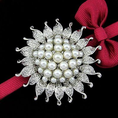 Lovely Rhinestone Crystal Wedding Bridal Bouquet Silver Flower Pearl Brooch Pin
