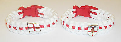 England / English Patriotic Paracord Wristband With Badges - 2 Types Available