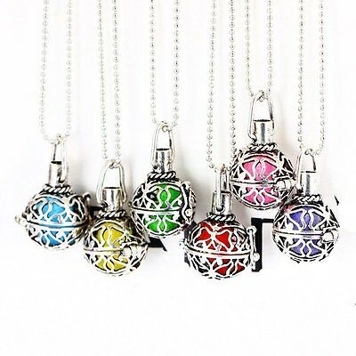 Vintage Silver Charms Locket Essential Oil Aromatherapy Diffuser Necklace Gift