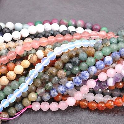 Natural Gemstone FACETED Round Spacer Loose Beads 4MM 6MM 8MM 10MM 12MM