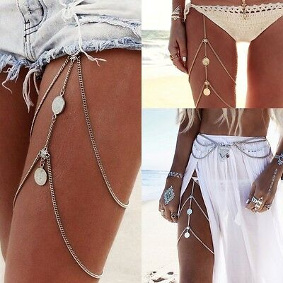 Vintage Coin Multilayer Boho Thigh Leg Chain Bohemia Jewelry Accessory