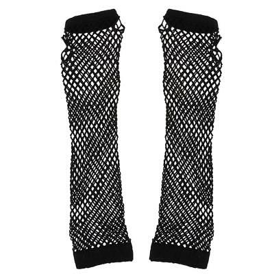 Sexy Long Black Fingerless Fishnet Gloves 80s Burlesque Ladies Fancy Dress