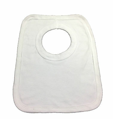 Baby Bibs Pack Of 12 White Pop Over Bibs Soft Cotton Stretch Brand New