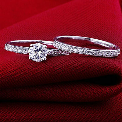 Size 6-9 2PCS Wedding Cubic Crystal Silver Plated Band Engagement Ring Set