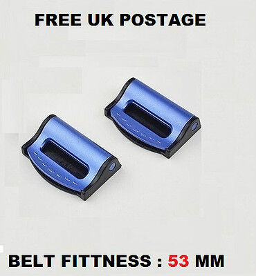 Pack Of 2 Car Seat Belt Comfort Strap Adjusters/supports/clips Safety Aid-Blue