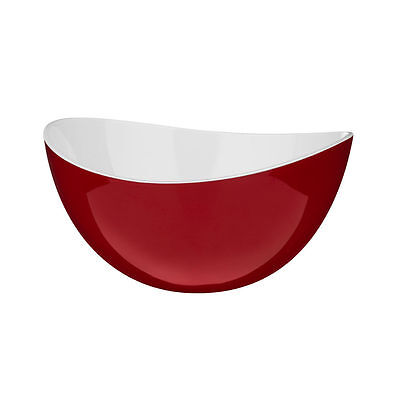 New Red & White Small Plastic Bowl Serving Salad Fruit Mixing BBQ Picnic Pot