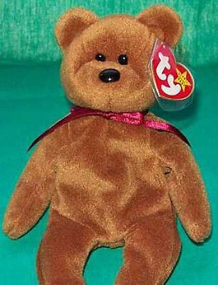 "TY Beanie Baby ""TEDDY"" The New Faced Brown Bear - MWMT Retired Plush Bean Bag"