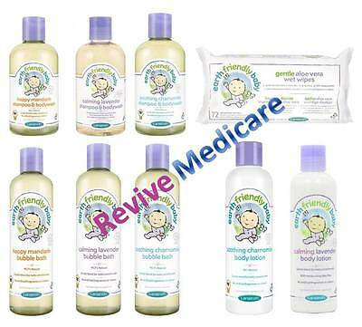 Earth Friendly Baby Range Shampoo, Body Wash, Lotion, Wipes Natural Ingredients
