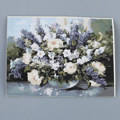 """16""""*20"""" DIY Paint By Number Kit Beautiful Flowers Oil Painting On Canvas NEW"""