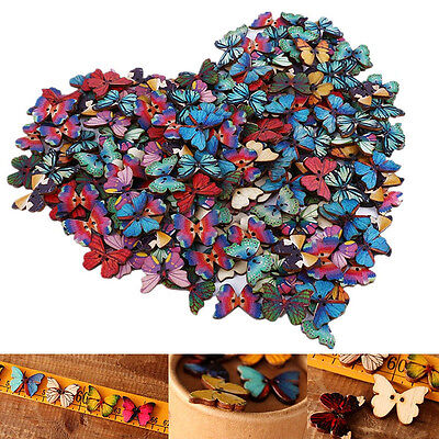 Bulk 50Pcs Mixed Butterfly Phantom Wooden Sewing Buttons Scrapbooking 2 Holes