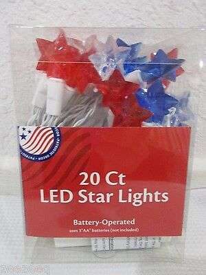Patriotic 4th of July Star LED String Lights BATTERY OPERATED Decor Decorations