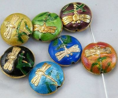 10pcs Cloisonne Enamel Mixed Dragonfly Flat Spacers 18x6mm O53-8