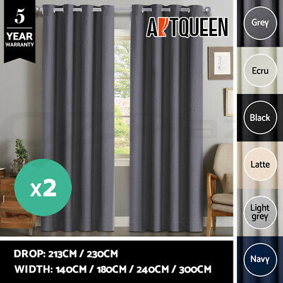 2X Blockout Curtains 3 Layers Eyelet Pure Fabric 100% Blackout Room Darkening