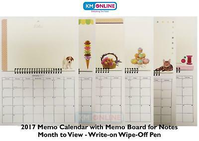 2017 Photo Memo Calendar Month to View With Write on Wipe Off Pen Hanging Spiral