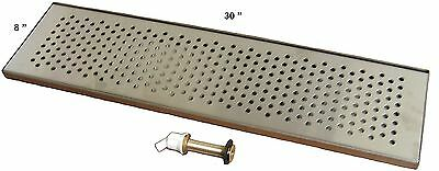 "Draft Beer Drip Trap 30"" X 8"" w/ S.S. Grill & 4"" Metal Drain - DTW-30SS"