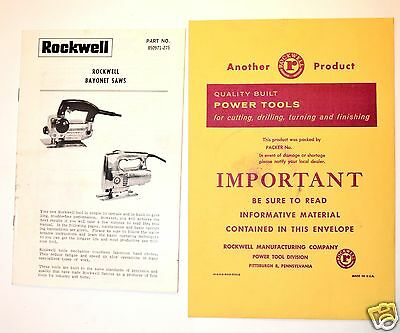 ROCKWELL Jig BAYONET SAWS MANUAL & GUIDE c/w ORIGINAL ENVELOPE #RR34
