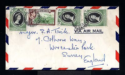 10730-JAMAICA-AIRMAIL COVER KINGSTON to SURREY (england)1953.British.