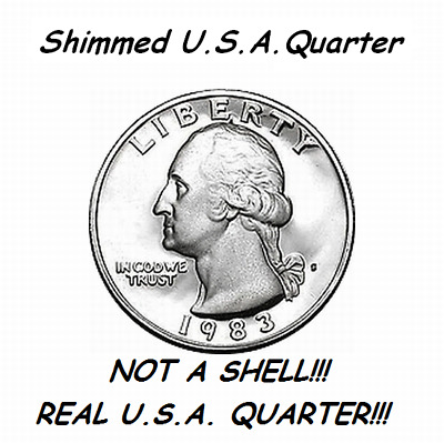Shimmed Steel Core Quarter-Not A Shell-Shim Coin Use With Pk Ring Magic Trick