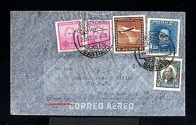 10762-CHILE-AIRMAIL CONDOR ZEPPELIN COVER SANTIAGO to HAMBURG (germany)1936.WWII